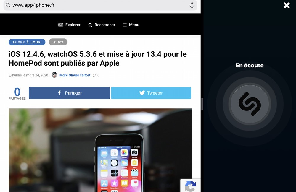 ipad shazam split view Shazam intègre désormais Split View sur iPad