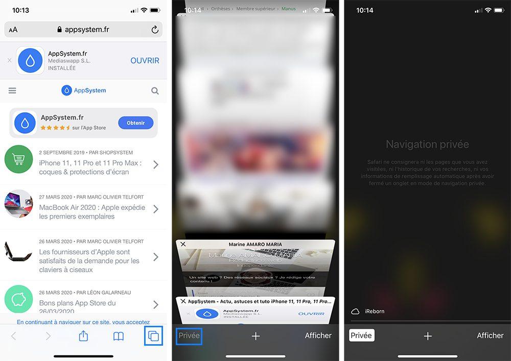 iphone onglet privee Comment nettoyer et vider les caches, l'historique et les cookies sur Safari