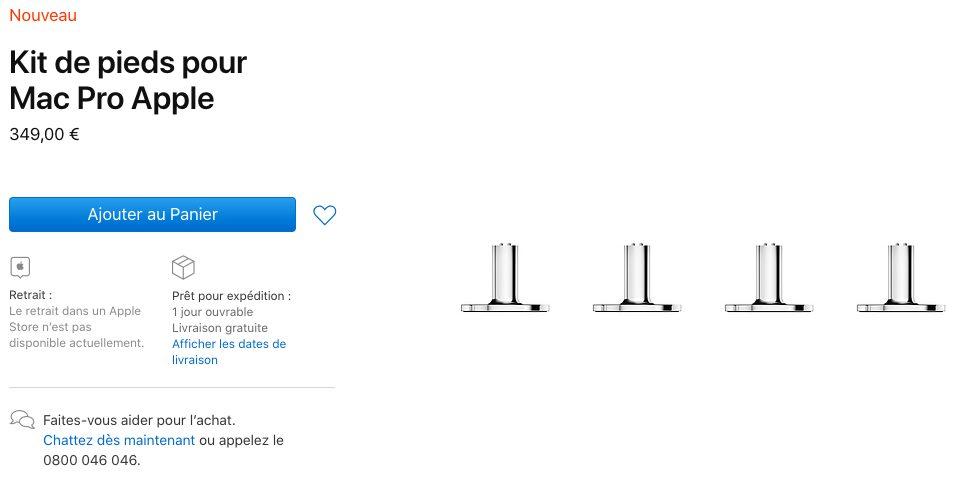 Kit Pieds Mac Pro Apple Mac Pro 2019 : le kit de pieds et de roues mis en vente par Apple (de 349 à 849 euros)
