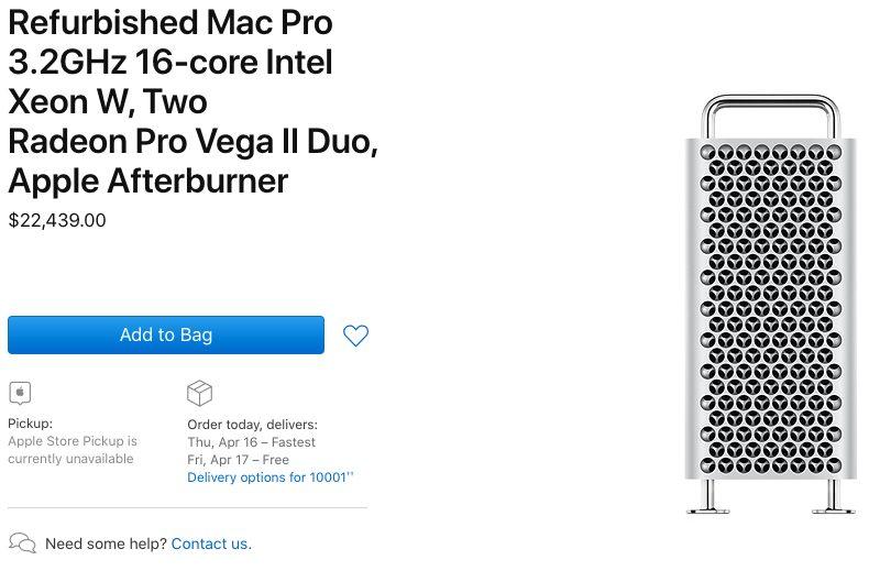 Mac Pro 2019 Reconditionne 2 Les Mac Pro 2019 reconditionnés sont proposés à la vente aux États Unis