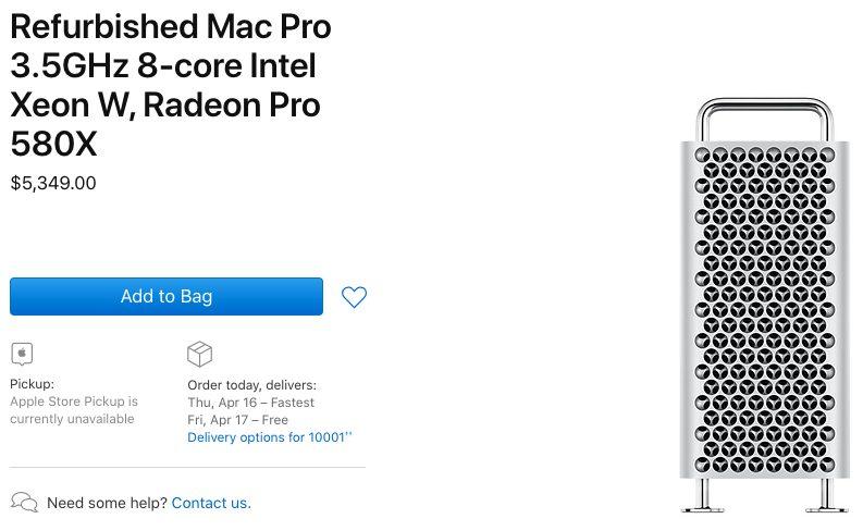 Mac Pro 2019 Reconditionne Les Mac Pro 2019 reconditionnés sont proposés à la vente aux États Unis