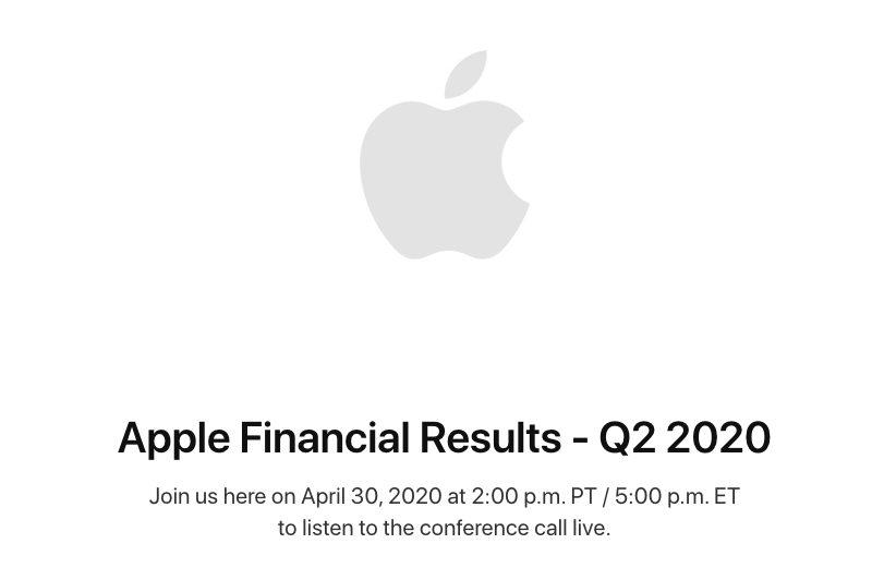 Resultats Financiers Apple Q2 2020 Apple va publier ses résultats financiers du deuxième trimestre 2020 le 30 avril : une baisse est prévue