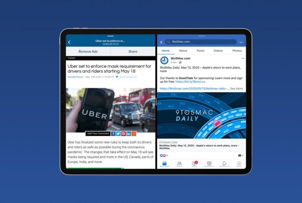 Facebook Split View et Slide Over iPad Facebook sur iPad : une mise à jour propose le support de Split View et de Slide Over