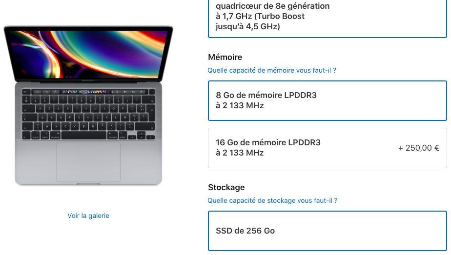 MacBook Pro 2020 Prix RAM Augmente MacBook Pro 13 pouces : Apple vient de doubler le prix pour augmenter la RAM