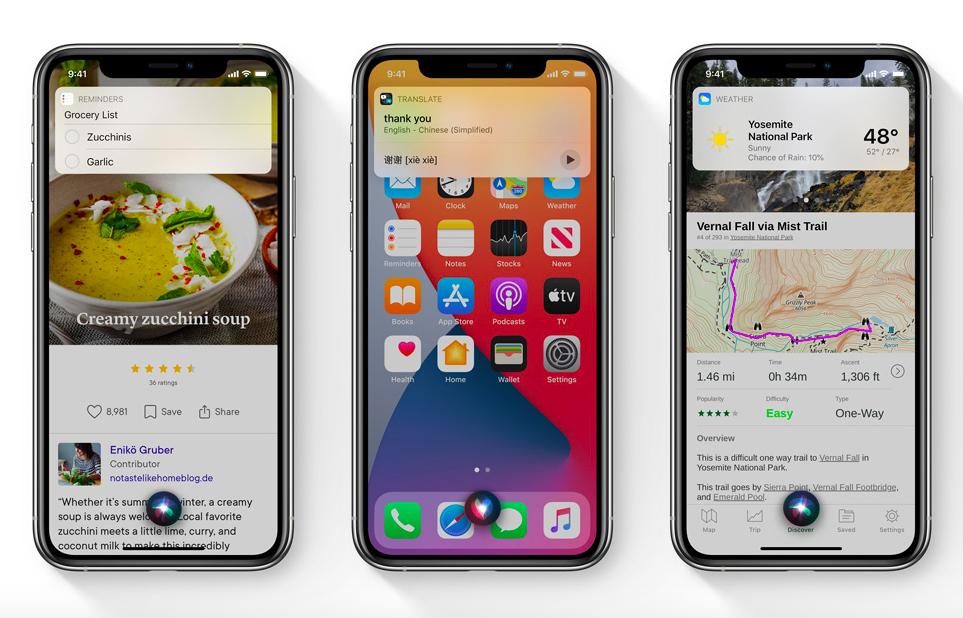 Apple iOS 14 Siri sur iPhone iOS 14 est là : widgets sur lécran daccueil, App Clips, Image dans Image, nouvel écran pour les appels...