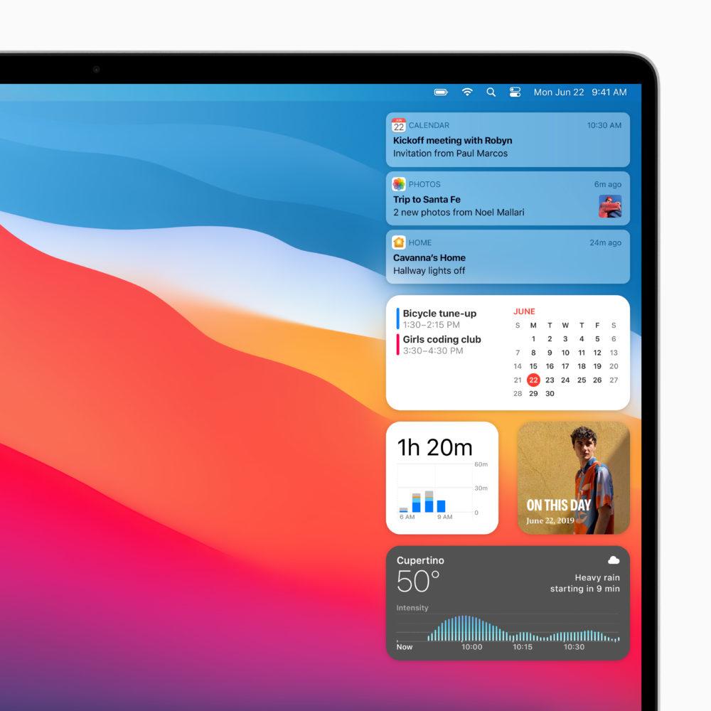 Apple macOS Big Sur Centre Notification Apple lève le voile sur macOS Big Sur : un design revu Plans, Messages et Safari améliorés...