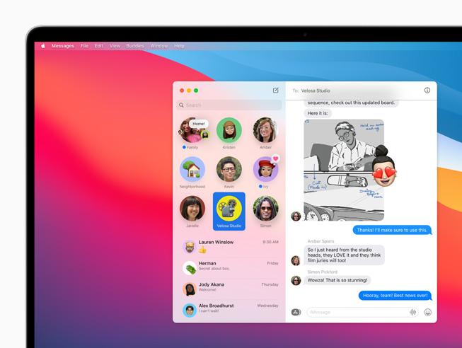 Apple macOS Big Sur Epingler Messages Apple lève le voile sur macOS Big Sur : un design revu Plans, Messages et Safari améliorés...