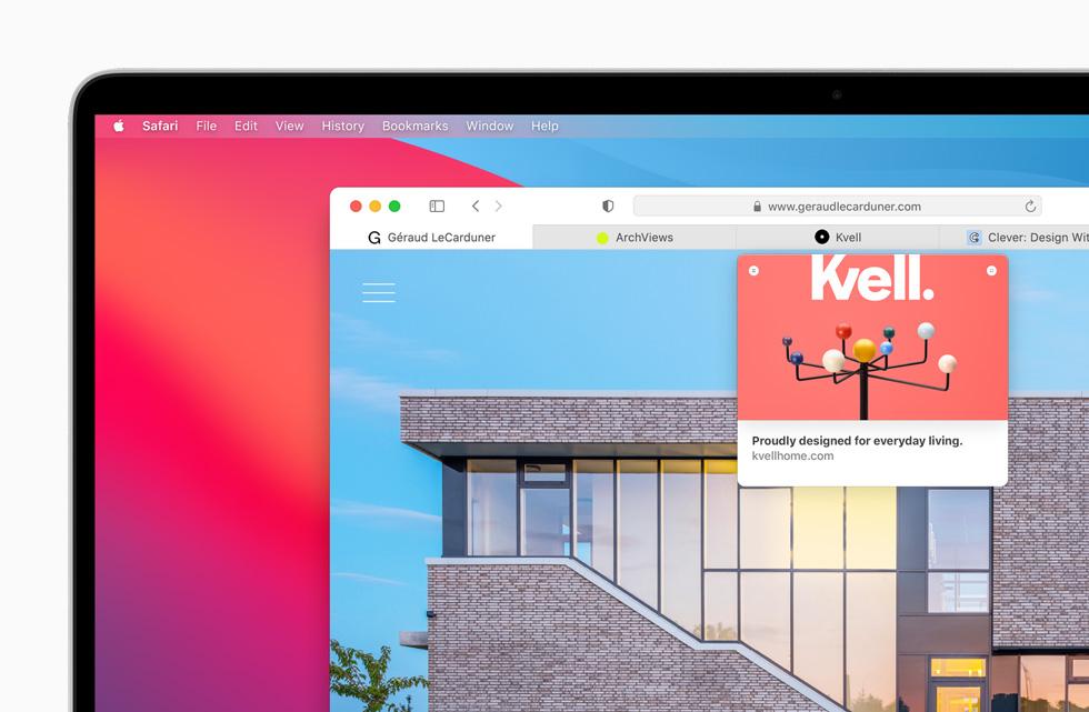 Apple macOS Big Sur Safari Apercu Onglets Apple lève le voile sur macOS Big Sur : un design revu Plans, Messages et Safari améliorés...