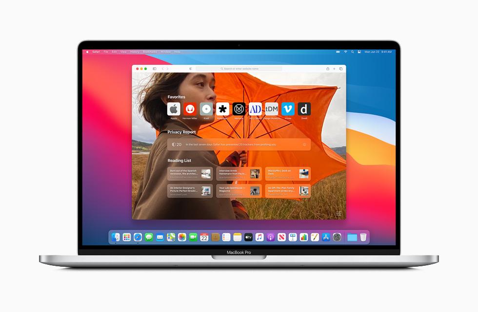 Apple macOS Big Sur Safari Page Demarrage Personnalisee Apple lève le voile sur macOS Big Sur : un design revu Plans, Messages et Safari améliorés...