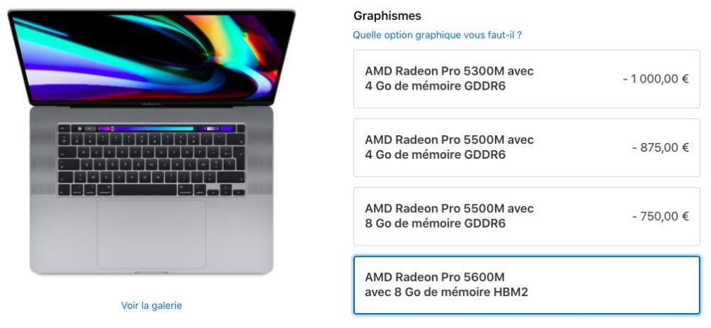 MacBook Pro 16 pouces Carte Graphique MacBook Pro 16 pouces : Apple vend désormais la puce graphique Radeon Pro 5600M