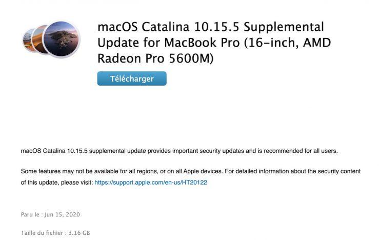 Mise A Jour Supplementaire macOS Catalina 10.15.5 MacBook Pro 16 pouces : une mise à jour supplémentaire de macOS 10.5.5 pour la Radeon Pro 5600M