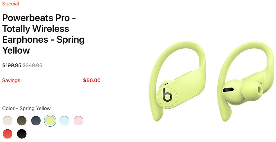 Powerbeats Pro Spring Yellow Apple propose des réductions sur les Powerbeats Pro, les Beats Solo Pro et les Powerbeats (USA)