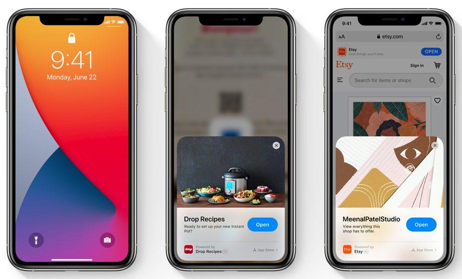 iOS 14 App Clips iOS 14 est là : widgets sur lécran daccueil, App Clips, Image dans Image, nouvel écran pour les appels...