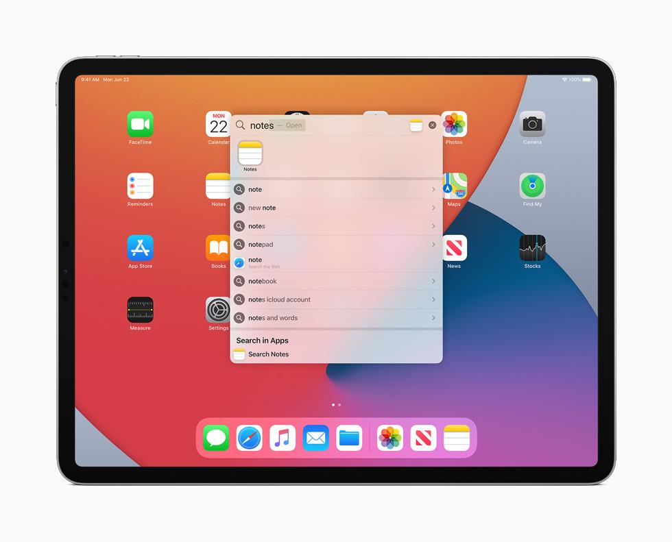 iPadOS 14 Recherche Ecran Accueil Apple a présenté iPadOS 14 : Scribble, réalité augmentée améliorée, du nouveau pour Siri et lApple Pencil…