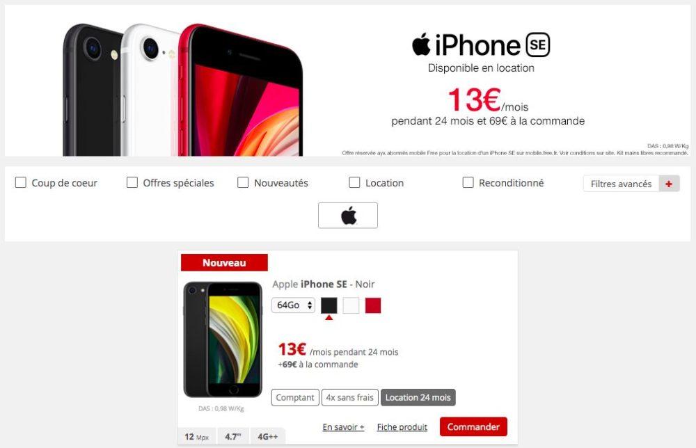 iPhone SE 2020 Location Free Mobile Free Mobile propose en location liPhone SE 2020 dApple