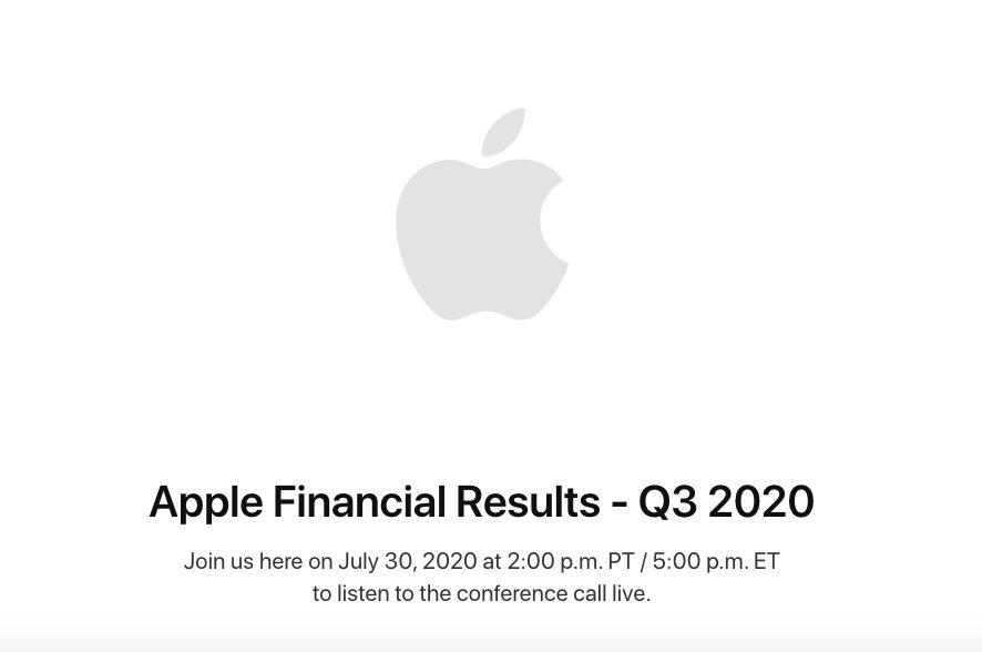 Resultats Financiers Apple Q3 2020 Apple annonce que ses résultats financiers pour le T3 2020 seront publiés le 30 juillet