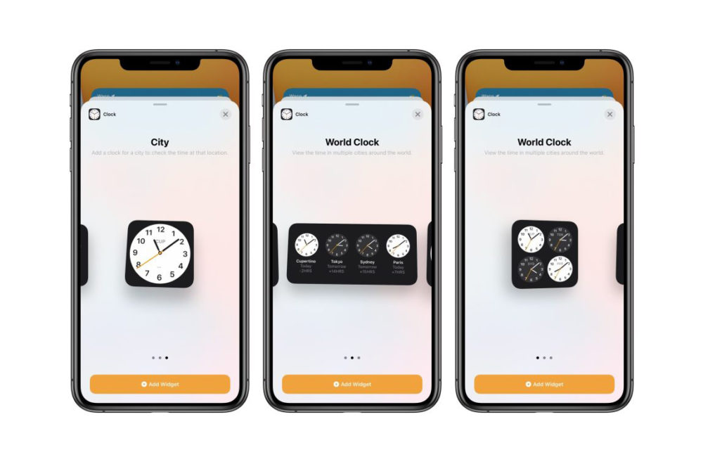 iOS 14 Beta 3 Widget Horloge iOS 14 bêta 3 : bug stockage corrigé, disparition de 3D Touch et dautres nouveautés