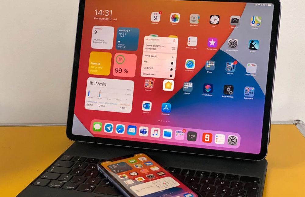 iOS 14 iPadOS 14 iPad Pro iOS 14 bêta 3 : bug stockage corrigé, disparition de 3D Touch et dautres nouveautés