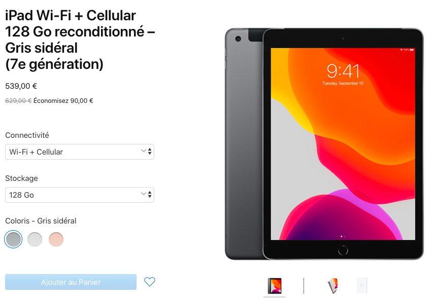 iPad 7 Reconditionne LiPad 7e génération reconditionné est désormais à lachat en France