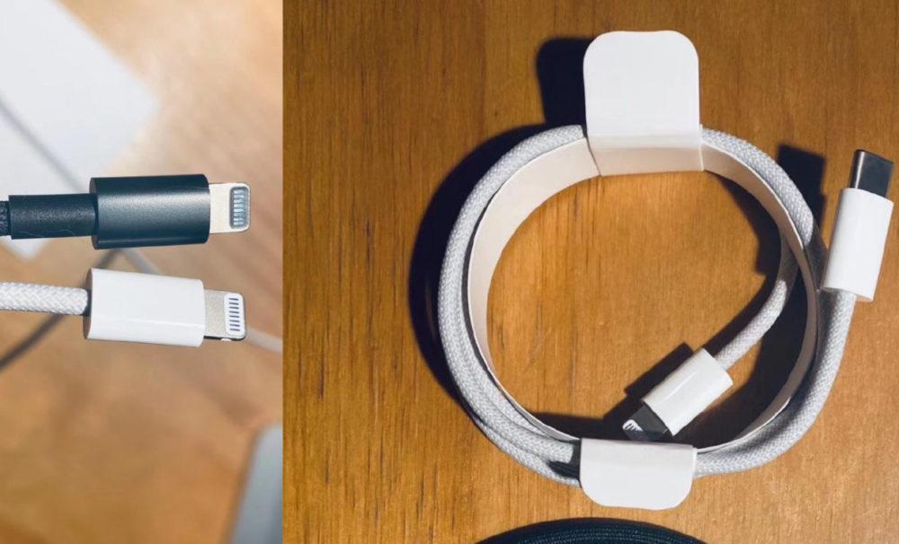 iPhone 12 Cable Lightning Tresse Des images montrent une nouvelle fois le câble Lightning tressé qui serait livré avec liPhone 12