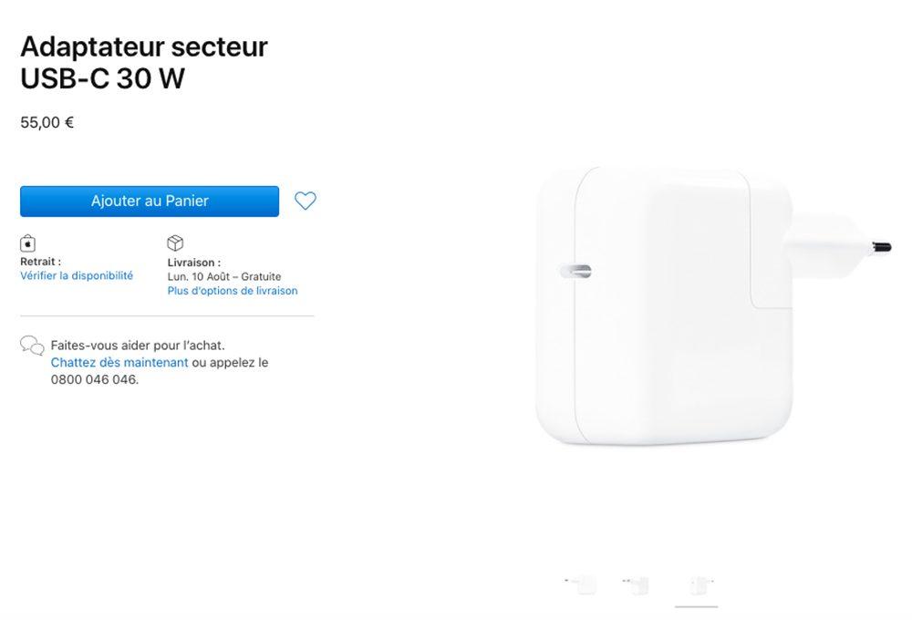 Adaptateur Secteur USB C 30 W Apple met à la vente un nouvel adaptateur secteur USB C 30 W (prix : 55 euros)