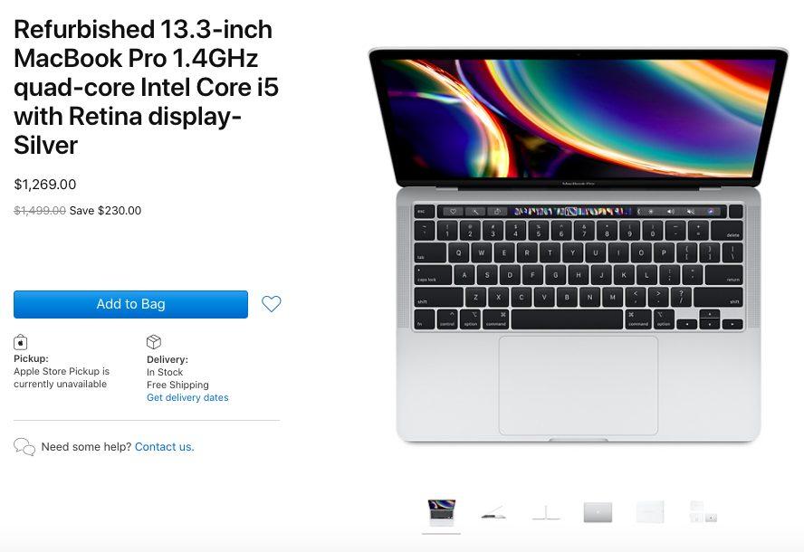 MacBook Pro 13 pouces 2020 reconditionnés 1 MacBook Pro 13 pouces 2020 : les modèles reconditionnés sont disponibles à la vente (USA)
