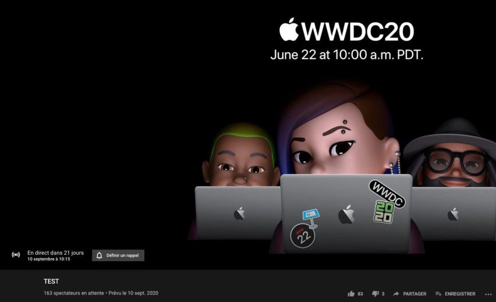 Date de la prochaine keynote dApple ? Apple a programmé et retiré une vidéo en direct sur YouTube