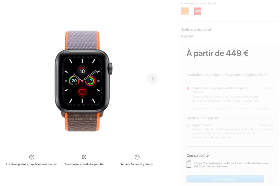 Apple Watch Series 5 rupture de Stock Septembre 2020 Certains Apple Watch Series 5 sont indisponibles sur le site dApple, sortie de la Series 6 ?