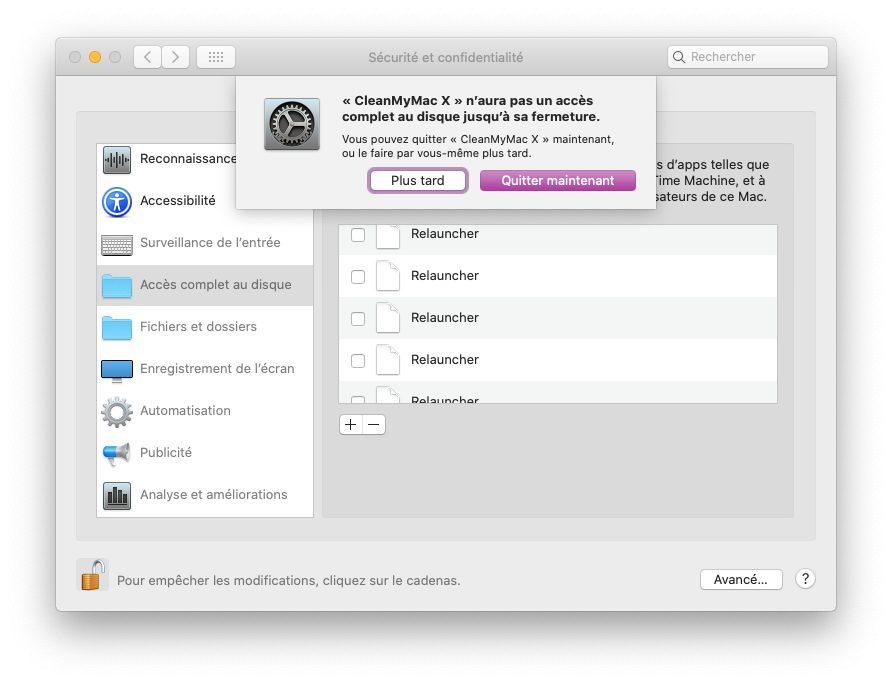 mac preferences confidentialite autoriser acces disque complet Pourquoi et comment utiliser CleanMyMac X sur un Mac lent