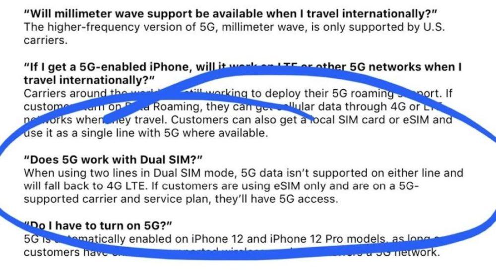 Apple iPhone 12 5G Pas de 5G En cas de Double SIM iPhone 12 : vous naurez pas la 5G si vous utilisez la double SIM