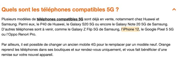 Orange iPhone 12 Compatible 5G LiPhone 12 sera t il compatible avec la 5G ? Oui ! Orange le confirme