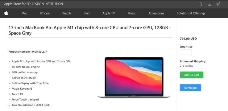 Apple MacBook Air M1 128 Go Un MacBook Air M1 avec 128 Go de stockage apparaît sur lApple Store