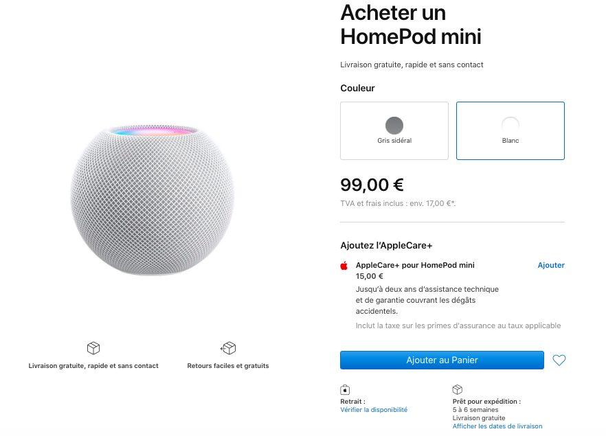 Delais Livraisons HomePod mini France Les délais de livraison du HomePod mini passent à janvier 2021