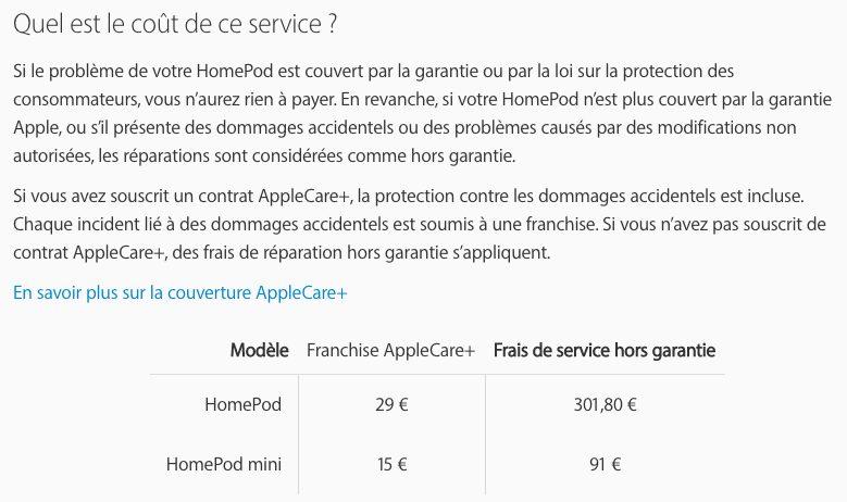 Prix Reparation du HomePod Voici le prix de réparation du HomePod mini (quasi le prix dun exemplaire neuf)