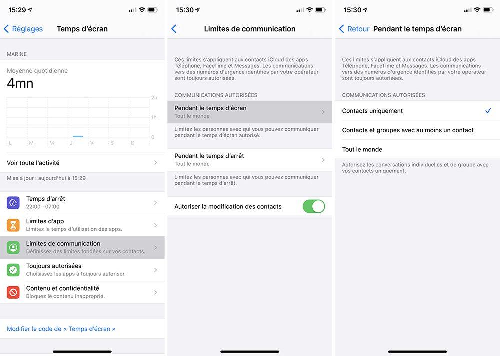 iphone temps ecran limites communication 1 Comment activer et configurer le contrôle parental Temps décran inclus dans votre iPhone