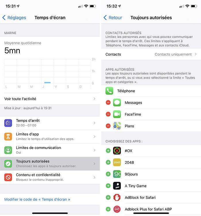 iphone temps ecran toujours autorisees Comment activer et configurer le contrôle parental Temps décran inclus dans votre iPhone