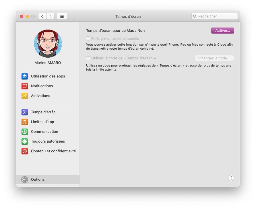 mac temps ecran options activer Comment activer et configurer Temps d'écran, le contrôle parental inclut dans macOS