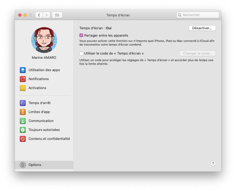 mac temps ecran options partager Comment activer et configurer Temps d'écran, le contrôle parental inclut dans macOS