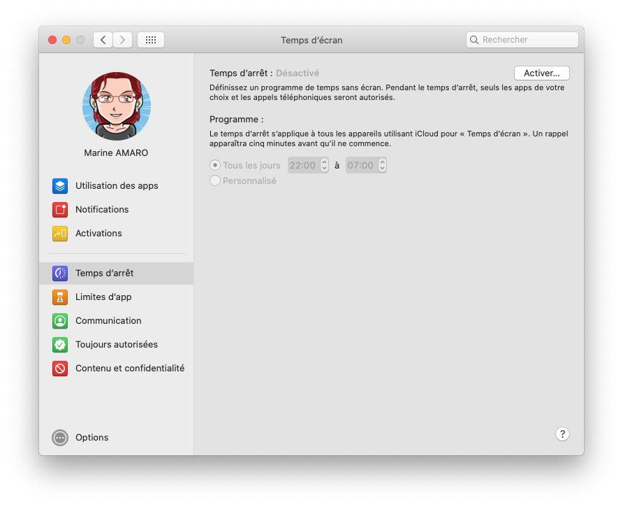 mac temps ecran temps arret Comment activer et configurer Temps d'écran, le contrôle parental inclut dans macOS
