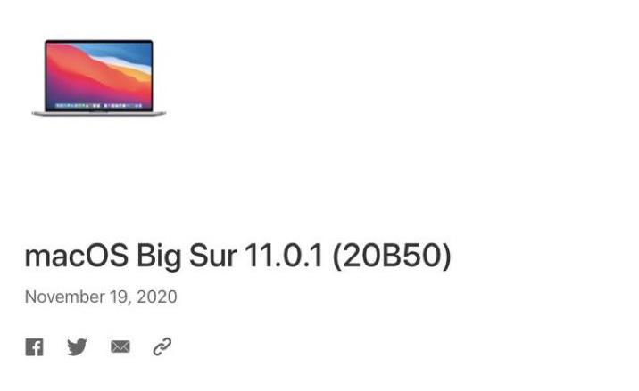 macOS Big Sur 11.0.1 macOS Big Sur 11.0.1 : Apple met en ligne une nouvelle version pour certains utilisateurs