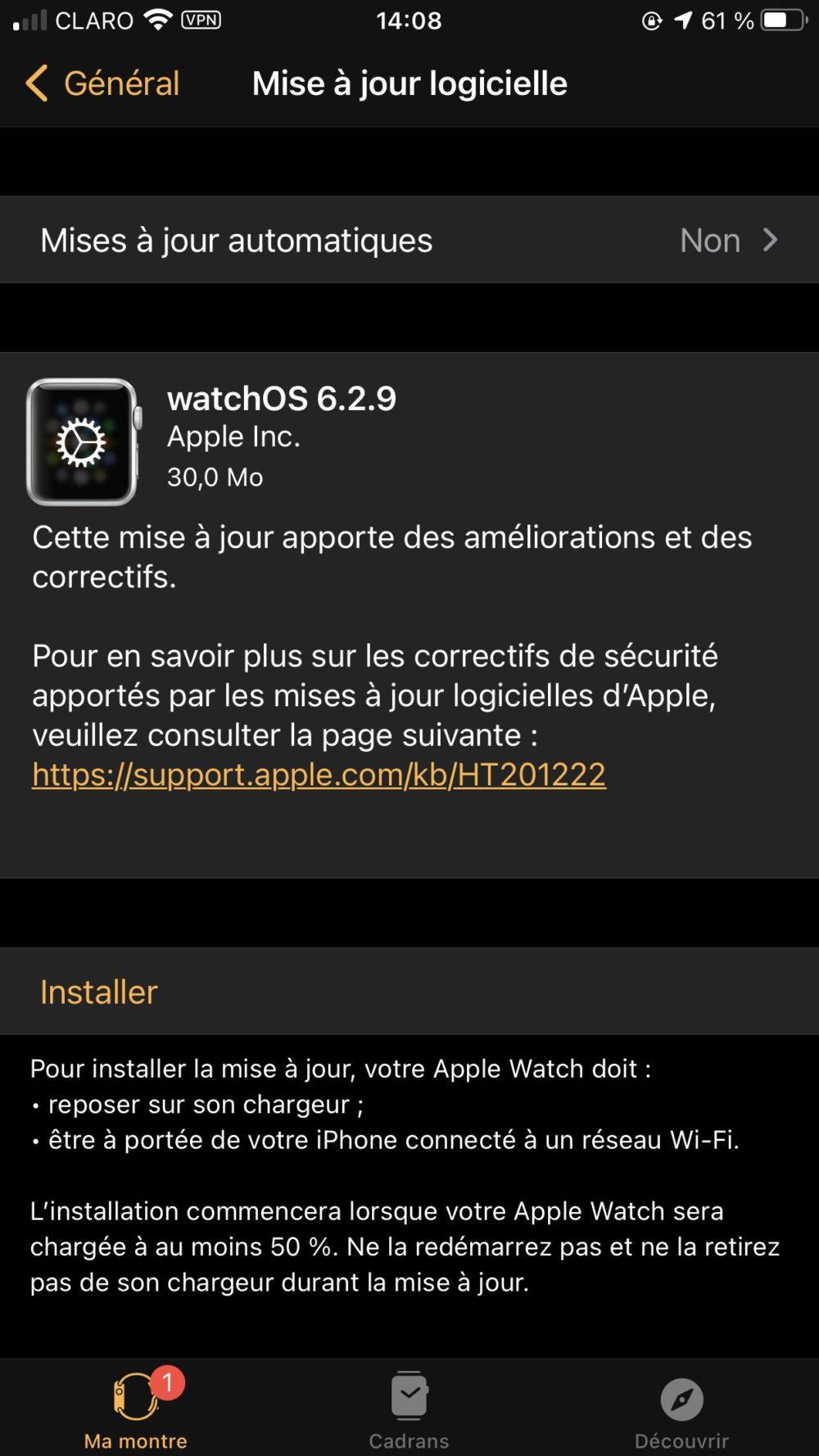 watchOS 6.2.9 Apple publie watchOS 6.2.9 pour les anciennes Apple Watch
