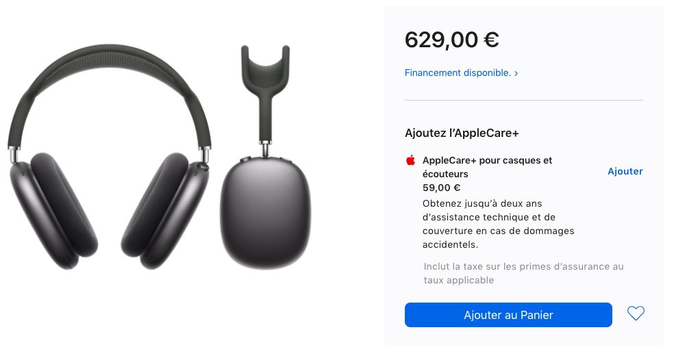 AirPods Max AppleCare AirPods Max : usage en mode filaire possible (39 euros) et lAppleCare (59 euros)