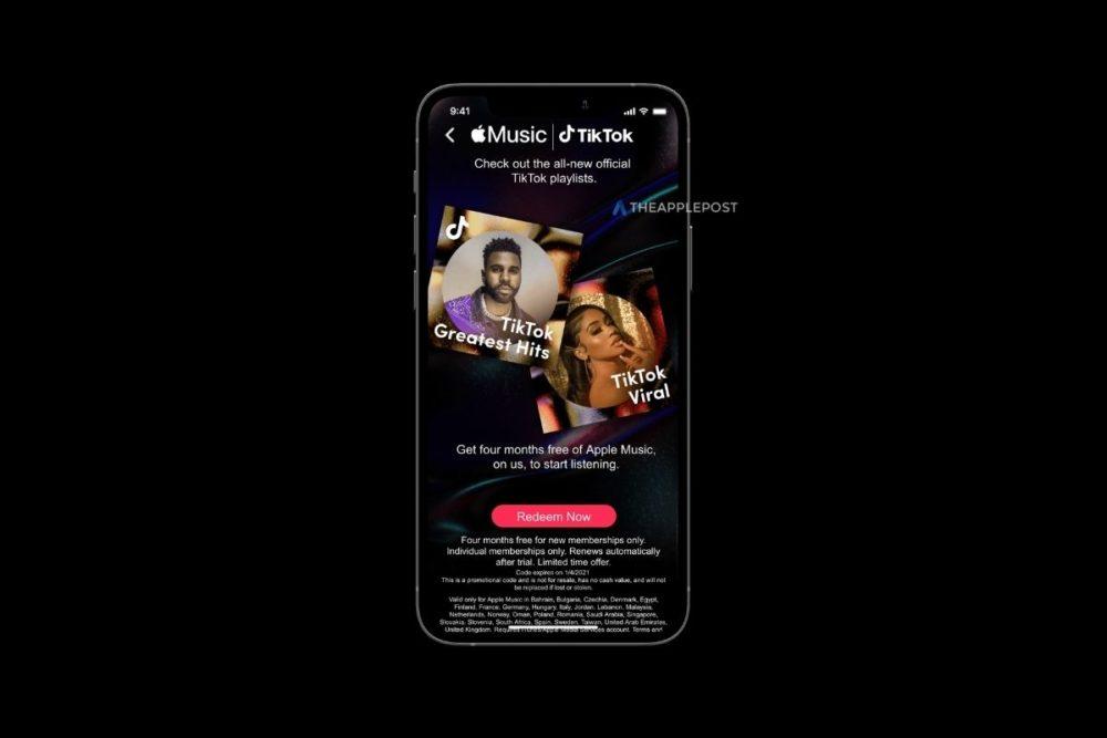TikTok Apple Music 4 Mois Offerts Apple Music : 4 mois gratuits sont offerts aux utilisateurs de TikTok