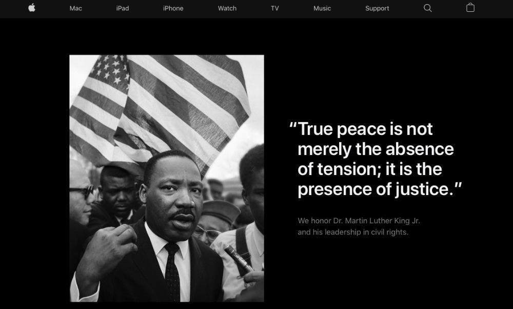 Martin Luther King App Store Apple rend hommage à Martin Luther King, Jr. sur la page daccueil de son site américain
