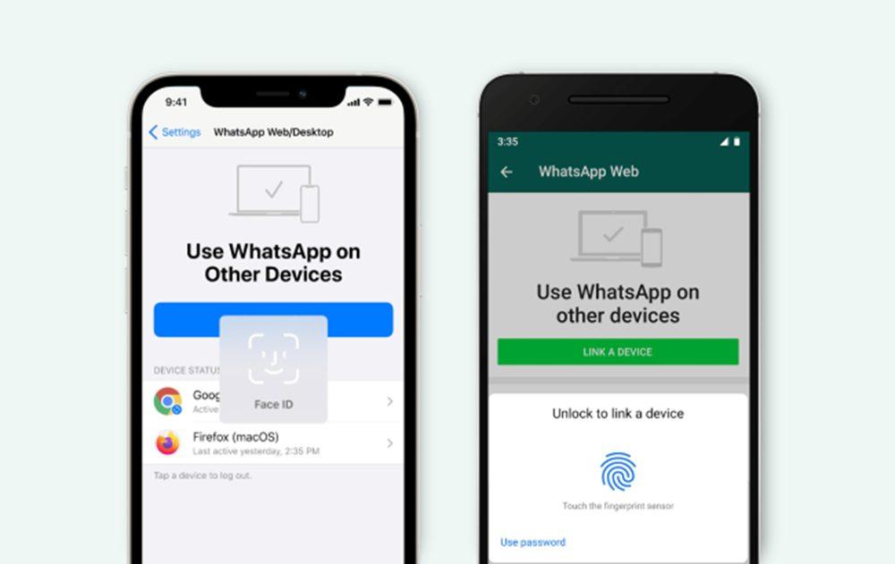 WhatsApp iOS and Android WhatsApp exige Face ID/Touch ID pour lier un compte à la version Web et lapp ordinateur