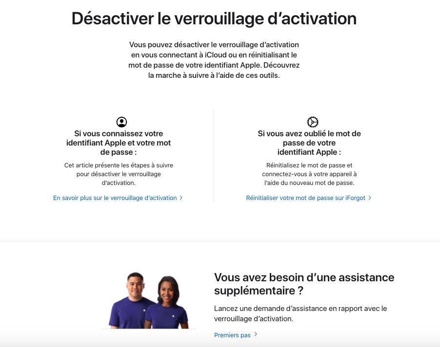 Desactiver le Verrouillage Dactivation Vous pouvez à présent désactiver le verrouillage dactivation en passant sur le site dApple