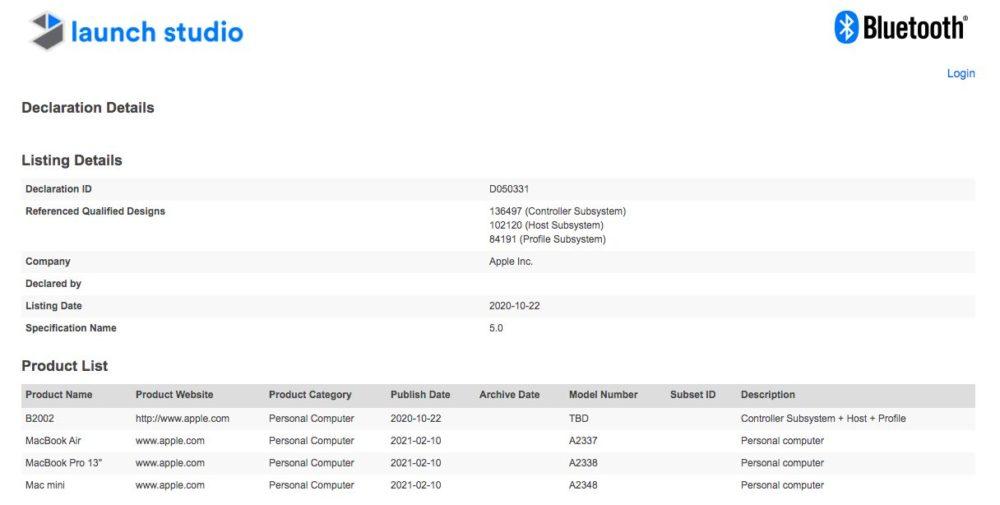 Mac M1 Certification Bluetooth Apple enregistre ses Mac M1 auprès de lorganisme du Bluetooth, mais un étrange B2002 répertorié