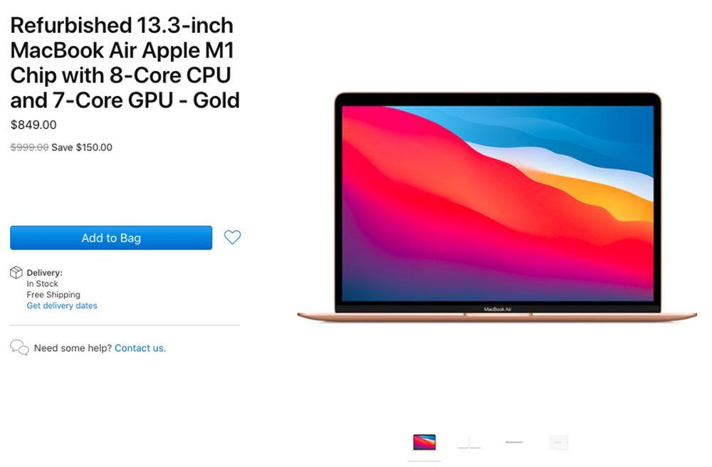 MacBook Air M1 Reconditionne Les MacBook Air M1 reconditionnés sont disponibles à la vente aux États Unis