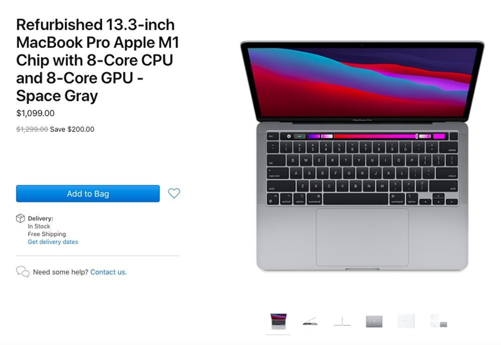 MacBook Pro Apple M1 Reconditionne Les MacBook Pro M1 reconditionnés sont proposés à la vente aux États Unis