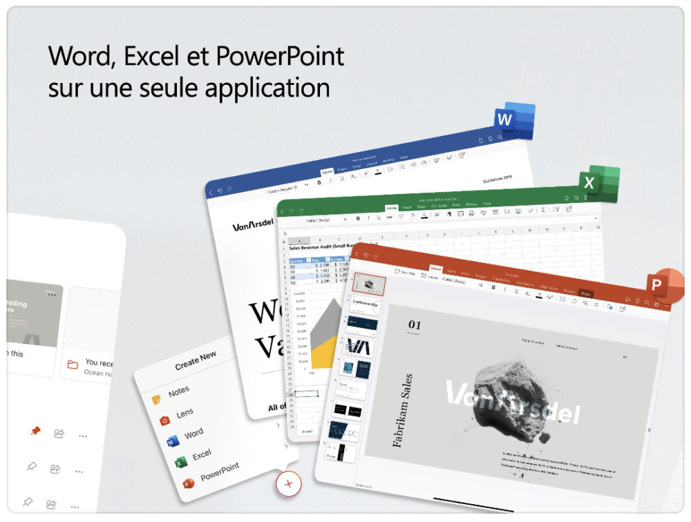 Microsoft Office, lappli qui combine Word, Excel et PowerPoint, est disponible sur iPad